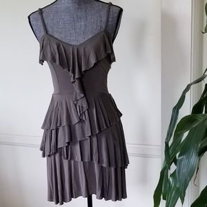 BeBe Ruffled Olive Dress Small